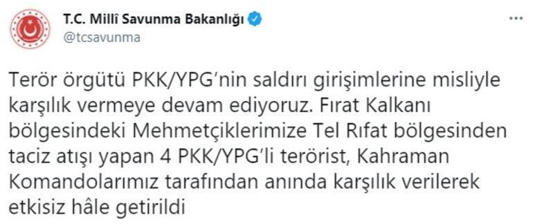 Son dakika... Taciz atışı yapan 4 PKKlı terörist etkisiz hale getirildi