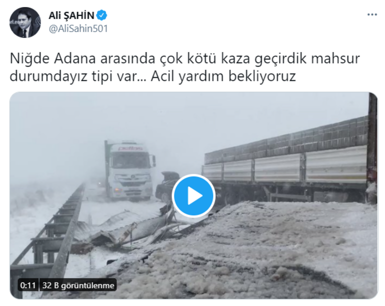 Son dakika AK Partili vekil kaza geçirdi: Mahsur kaldık, acil yardım bekliyoruz