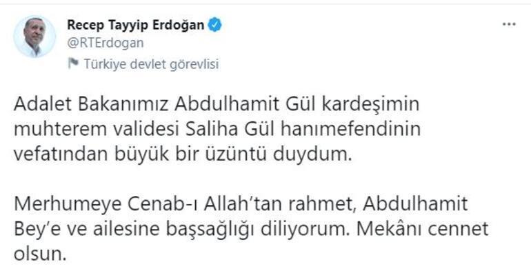 Cumhurbaşkanı Erdoğandan Adalet Bakanı Güle taziye mesajı