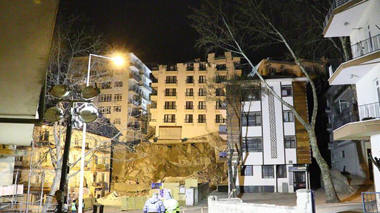 Ankarada temeli kayan apartmanda yıkım çalışmasına ara verildi