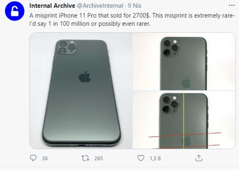 Yanlış logolu iPhone 11 Pro yaklaşık 22 bin TLye satıldı