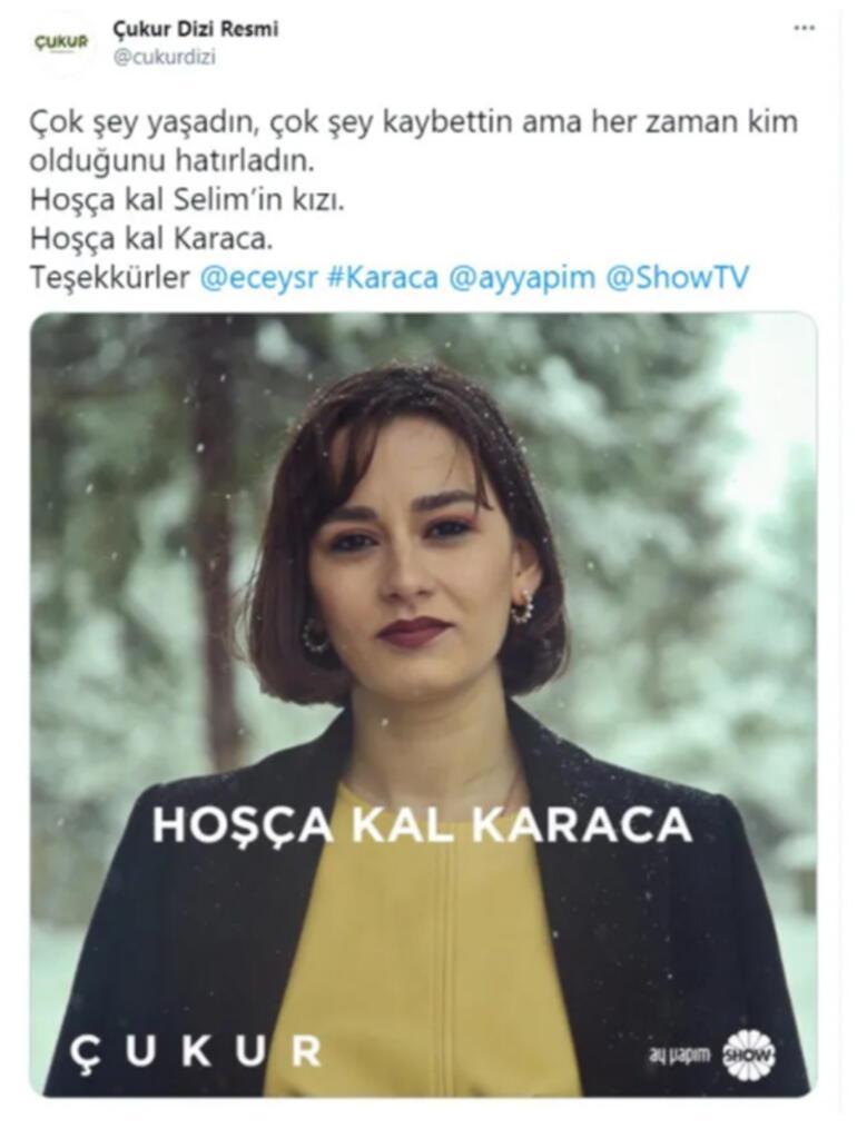 Ece Yaşar, Çukur dizisine veda etti