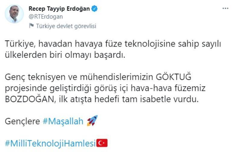 Son dakika... Cumhurbaşkanı Erdoğan duyurdu: İlk atışta hedefi tam isabetle vurdu