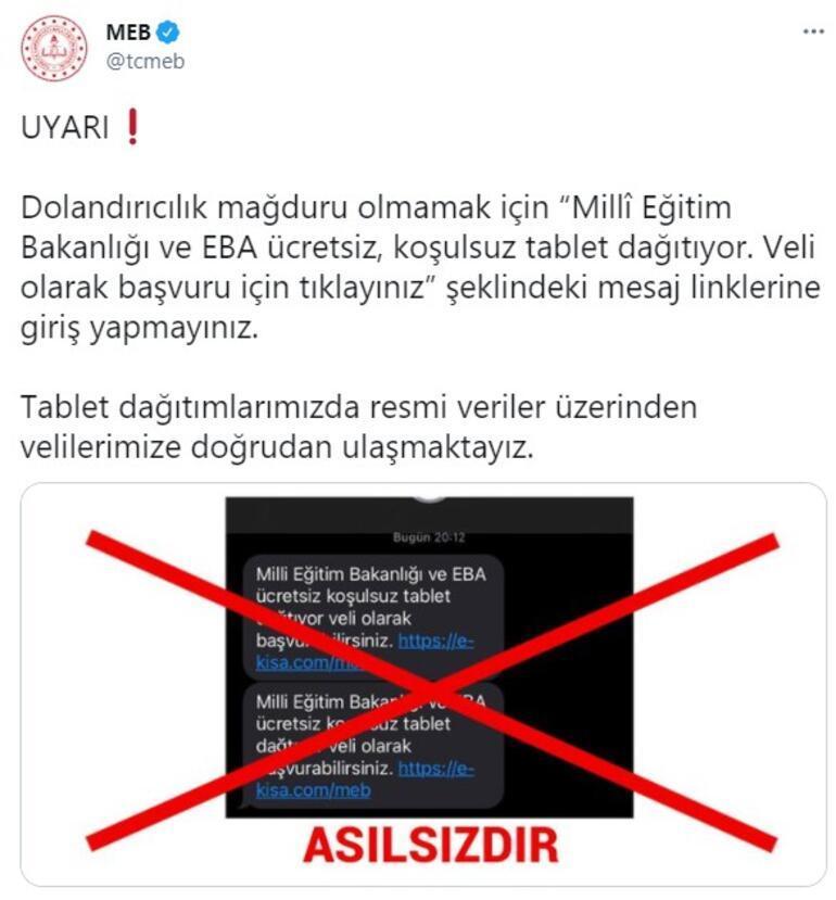 Son dakika MEBden tablet dağıtımı uyarısı Velilere çağrı...