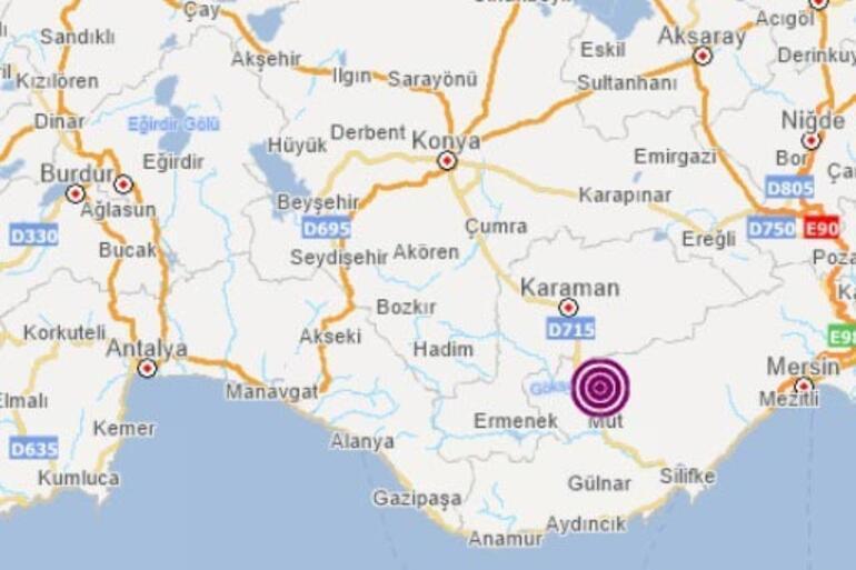 Son dakika Mersinde 3,9 büyüklüğünde deprem