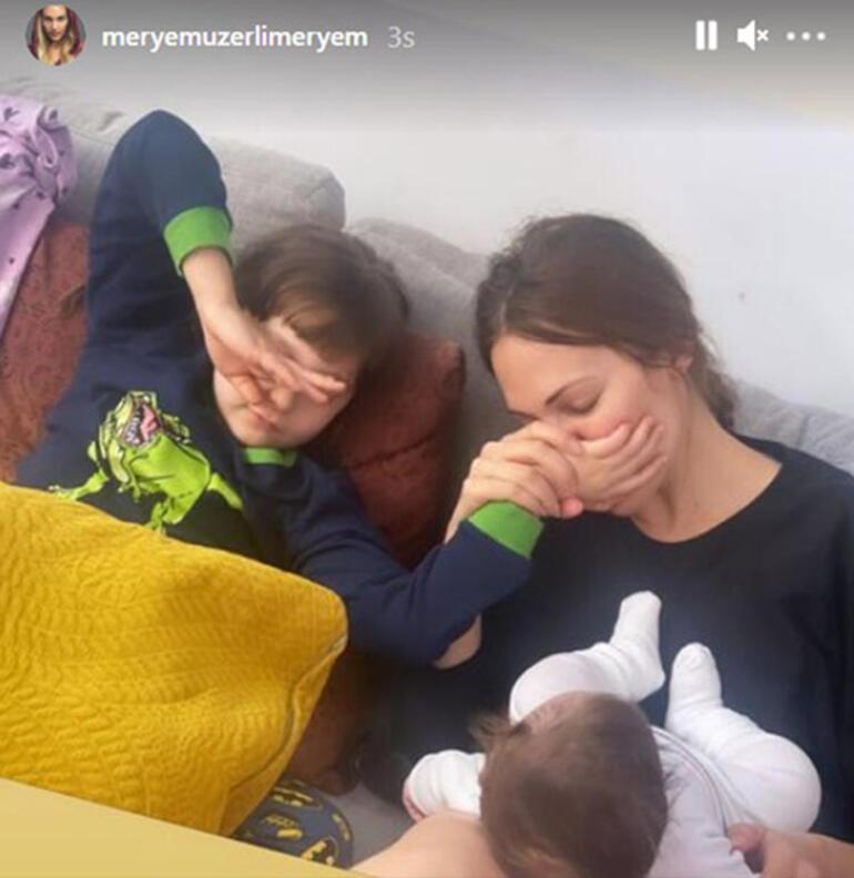 Meryem Uzerliden kızları Lara ve Lily Koi ile yeni poz