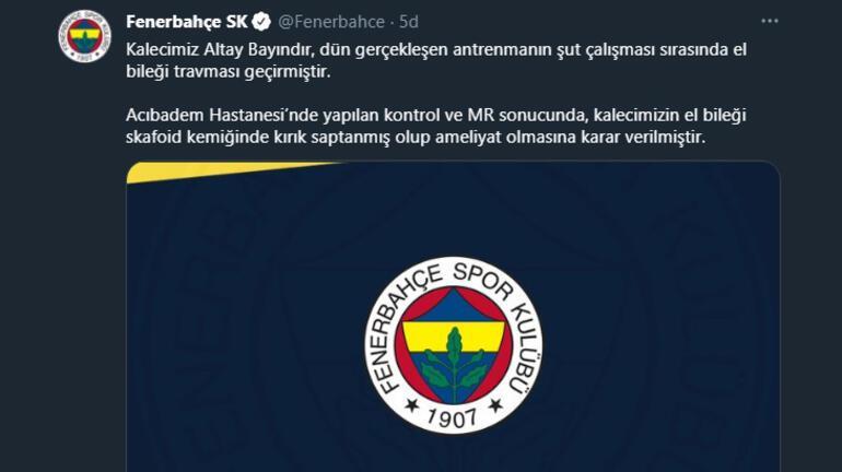 Fenerbahçede Altay Bayındırın elinde kırık tespit edildi