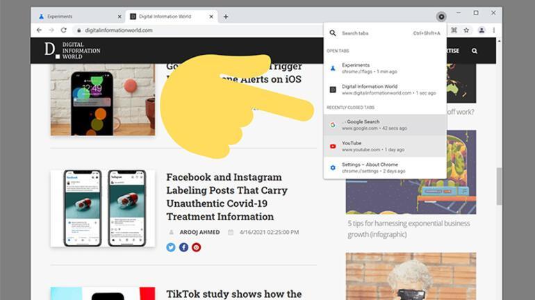 Google, Chrome için yanlışlıkla kapatılan sekmelere odaklanıyor