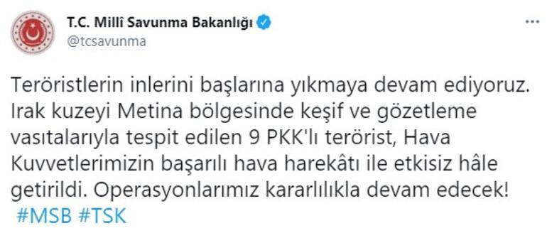 Son dakika... MSBden açıklama Metinada 9 PKKlı vuruldu