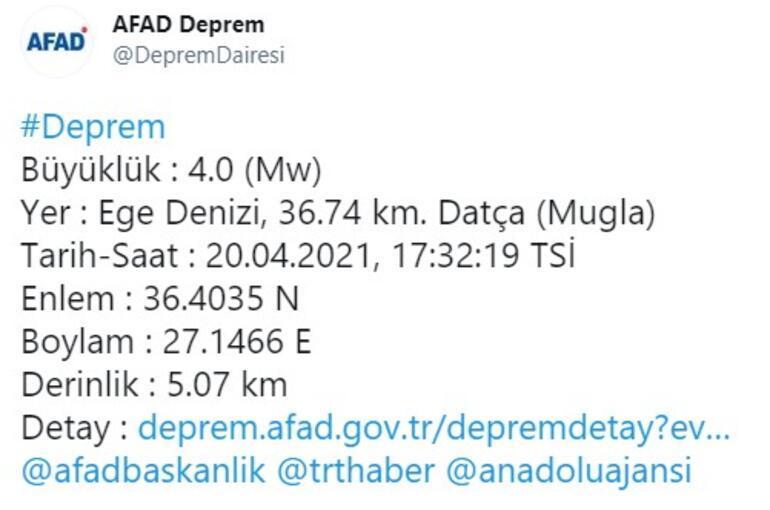 Son dakika... Datça açıklarında bir deprem daha AFAD ve Kandilliden açıklamalar