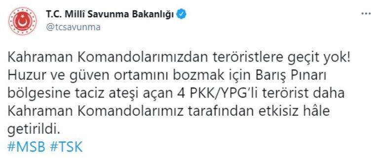 Son dakika... Barış Pınarı bölgesinde taciz ateşi açan PKKlılar etkisiz hale getirildi