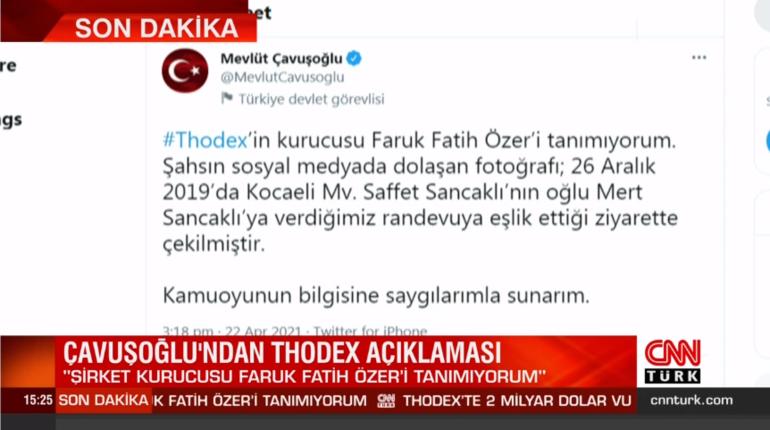 Son dakika: Bakan Çavuşoğlundan Thodex açıklaması