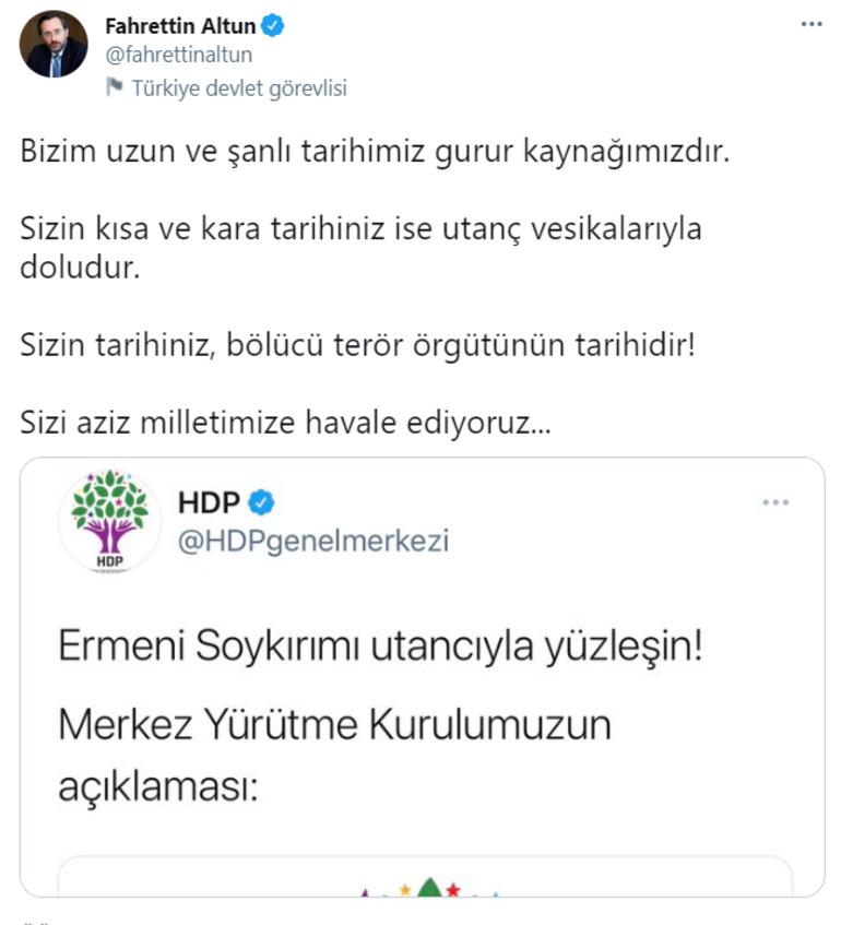Son dakika İletişim Başkanı Altundan HDPye sert tepki