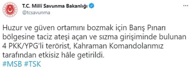MSB duyurdu 4 PKKlı terörist etkisiz hale getirildi