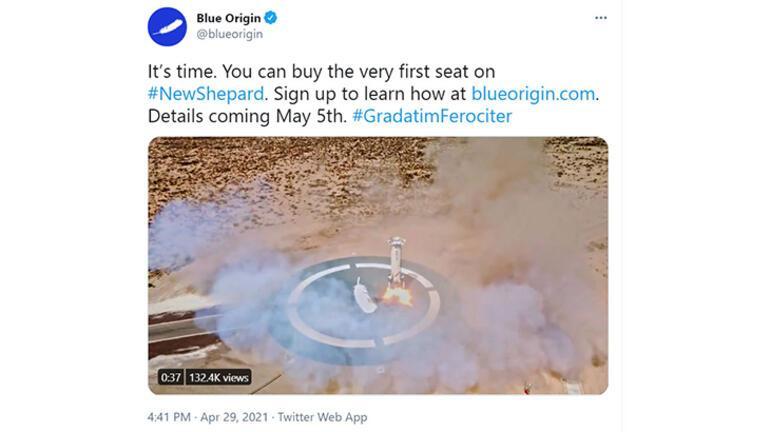 Blue Origin uzay turizmi için bilet satışlarını duyurdu