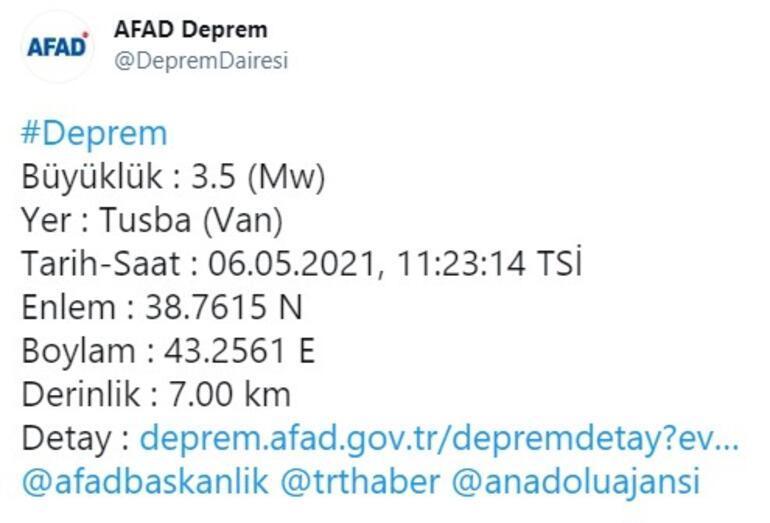 Son dakika... Vanda 3.8 büyüklüğünde deprem Açıklama yapıldı