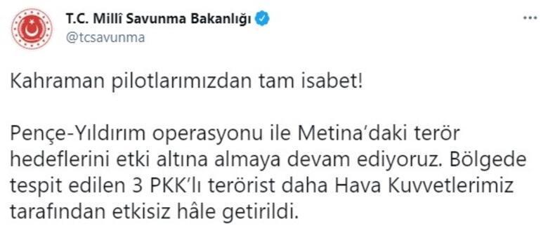 Son dakika... MSB paylaştı 3 PKKlı teröristleri böyle vuruldu