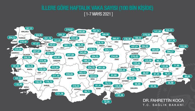 Son dakika... Bakan Koca son durumu paylaştı İşte haftalık vaka sayısı haritası...
