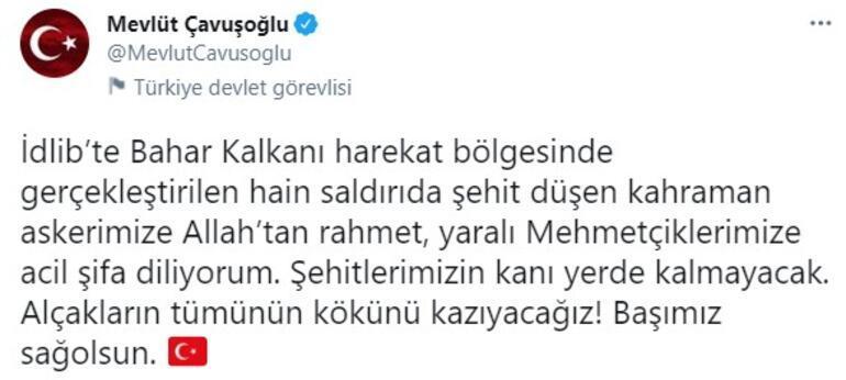 Dışişleri Bakanı Çavuşoğlu, İdlibde şehit olan asker için başsağlığı diledi
