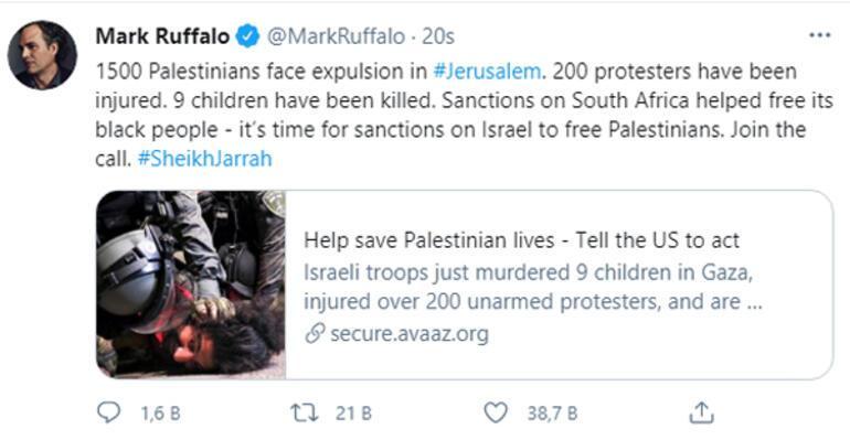 Mark Ruffalodan Filistin çağrısı