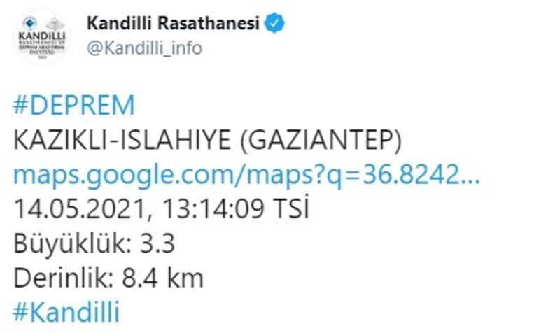 Son dakika... Gaziantepte 3.5 büyüklüğünde deprem
