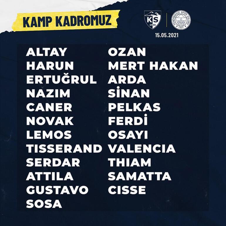 Son dakika - Fenerbahçe, Kayserispor maç kamp kadrosunu açıkladı Altay Bayındır sürprizi