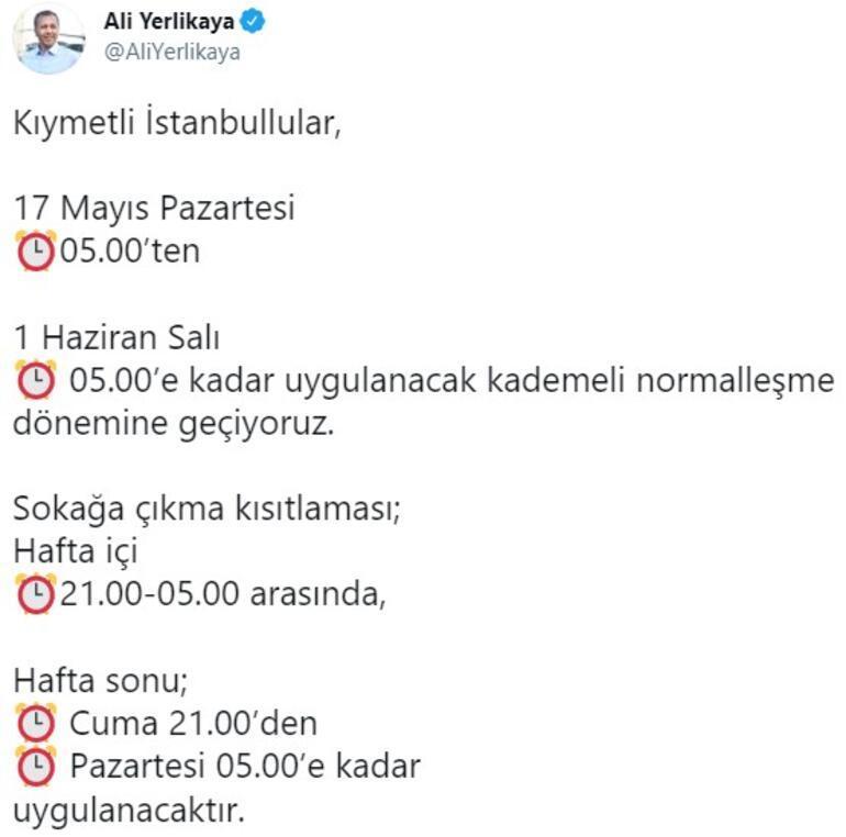 Son dakika... İstanbul Valisi Ali Yerlikayadan kademeli normalleşme ve kısıtlama paylaşımı
