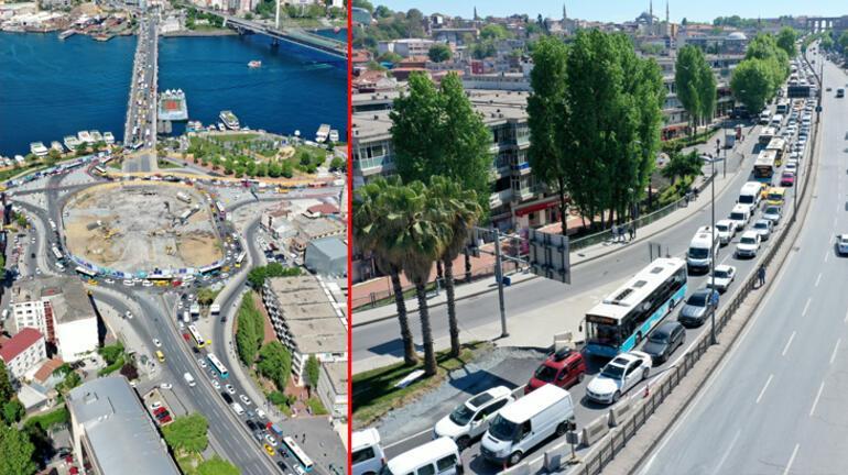 Unkapanı Kavşağı Köprüsünün yıkılması trafik yoğunluğuna yol açtı
