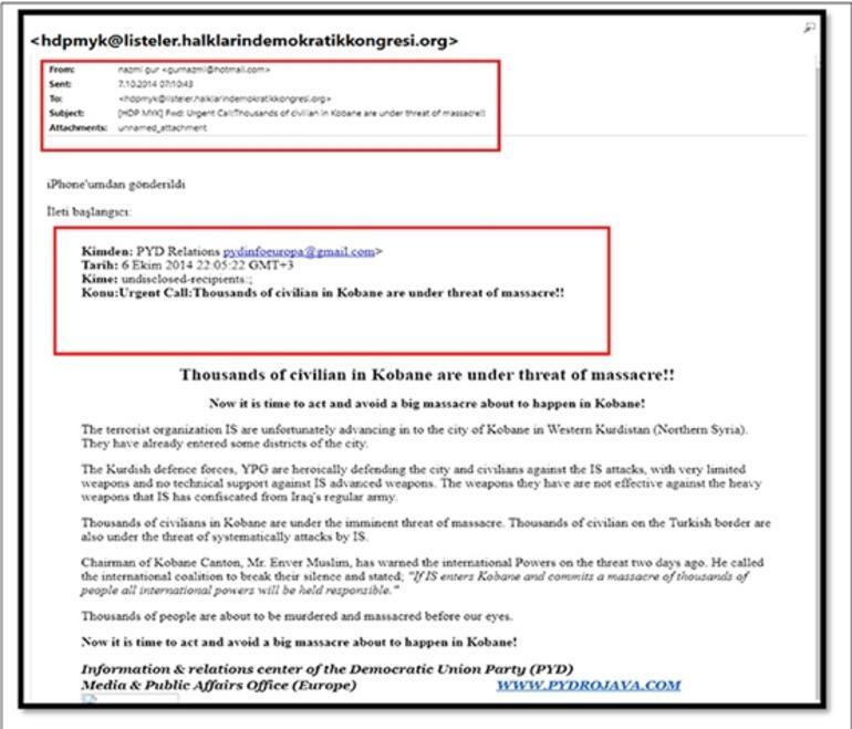 Terör örgütü PYDnin, Kobani olayları talimatını HDPye e-postayla bildirdiği ortaya çıktı