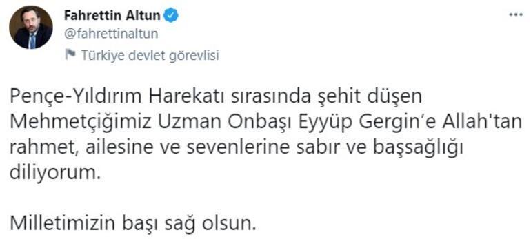 Cumhurbaşkanlığı İletişim Başkanı Altundan, şehit asker Gergin için başsağlığı mesajı