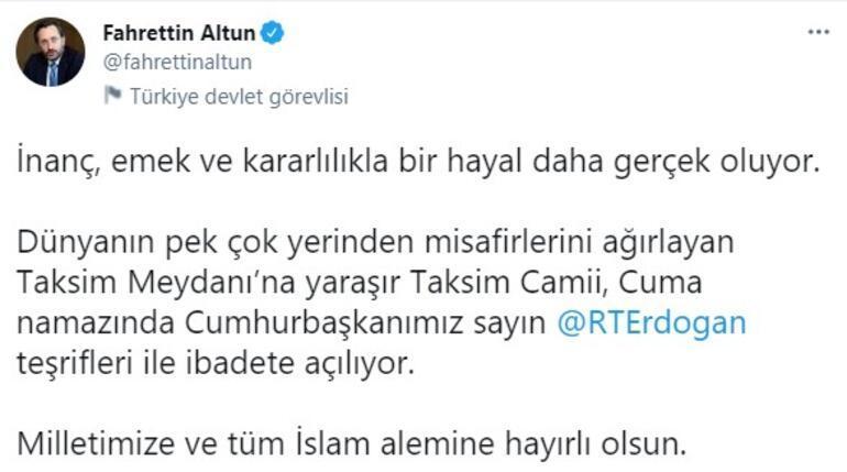 Son dakika... İletişim Başkanı Altundan Taksim Camii paylaşımı
