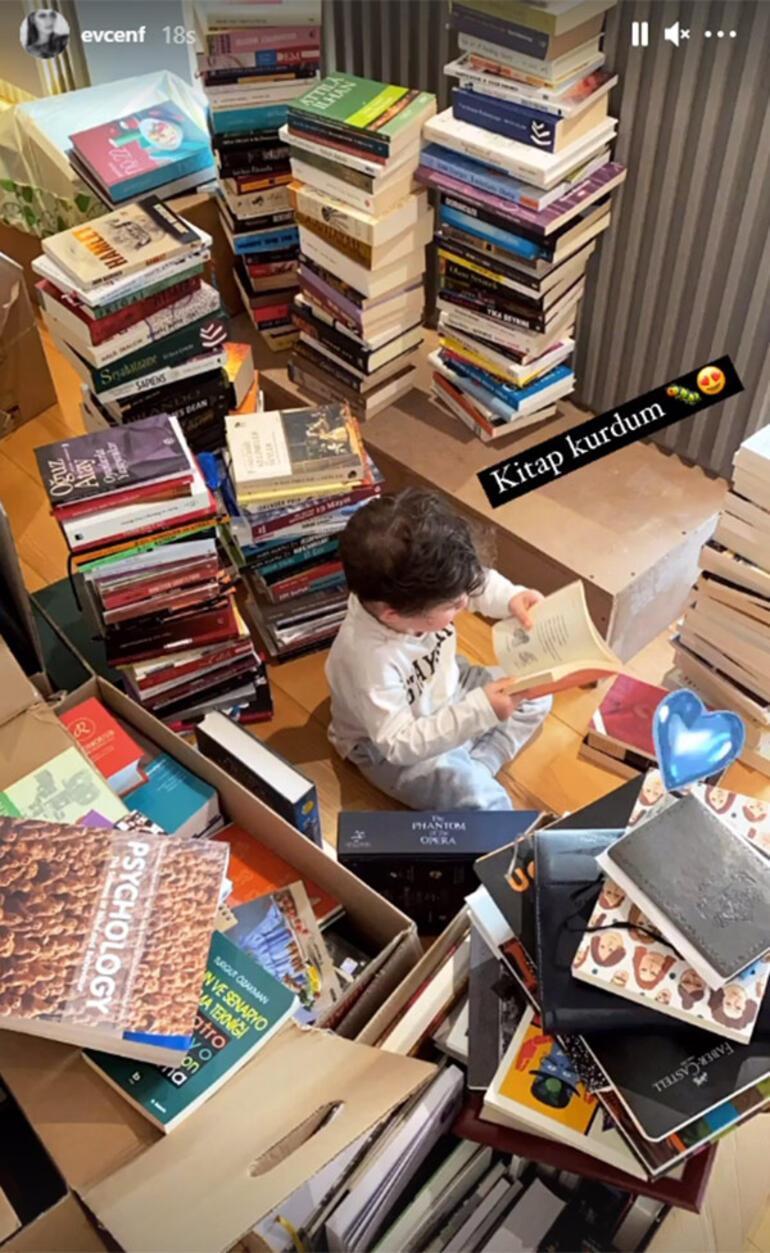 Fahriye Evcen paylaştı: Kitap kurdu Karan