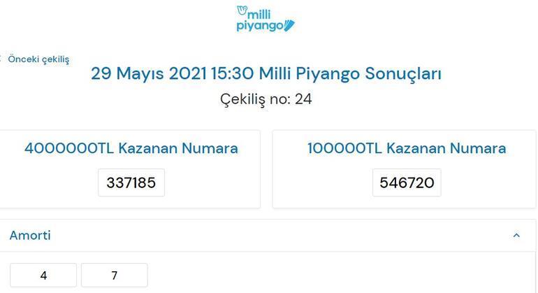 Milli Piyango sonuçları sorgulama ekranı 29 Mayıs Milli Piyango Çekiliş sonuçları sayfası