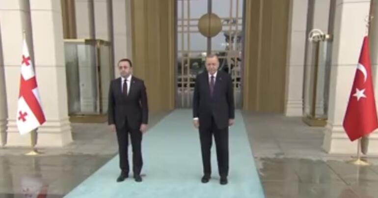 Ankarada önemli görüşme Cumhurbaşkanı Erdoğan, Garibashvili'yi resmi törenle karşıladı