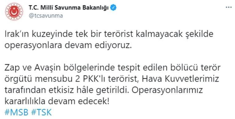 Zap ve Avaşinde 2 PKKlı terörist etkisiz hale getirildi