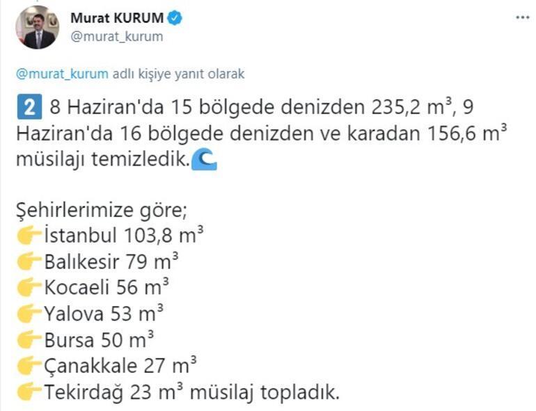 Son dakika... Marmara Denizinde son durum Bakan Kurum il il paylaştı