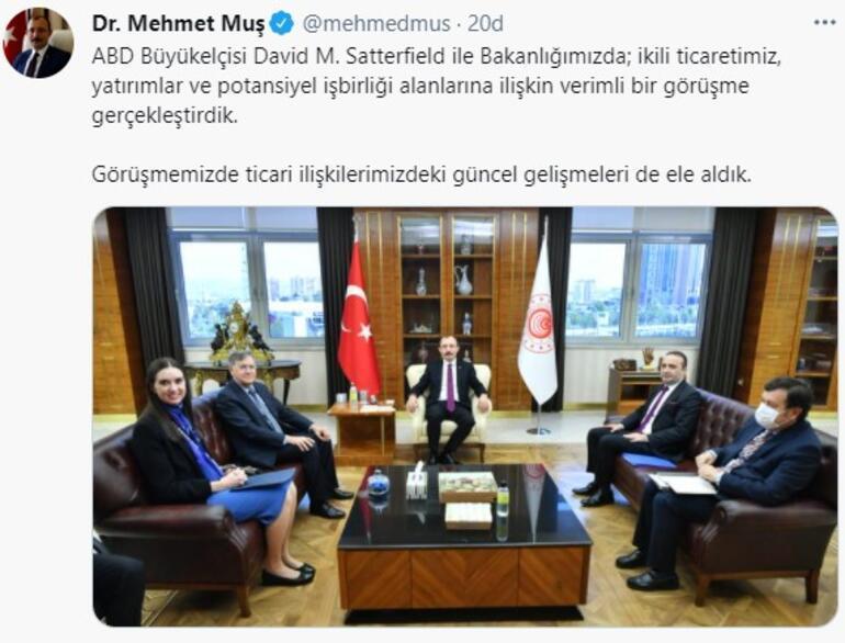 Ticaret Bakanı Muş, ABDnin Ankara Büyükelçisi ile görüştü