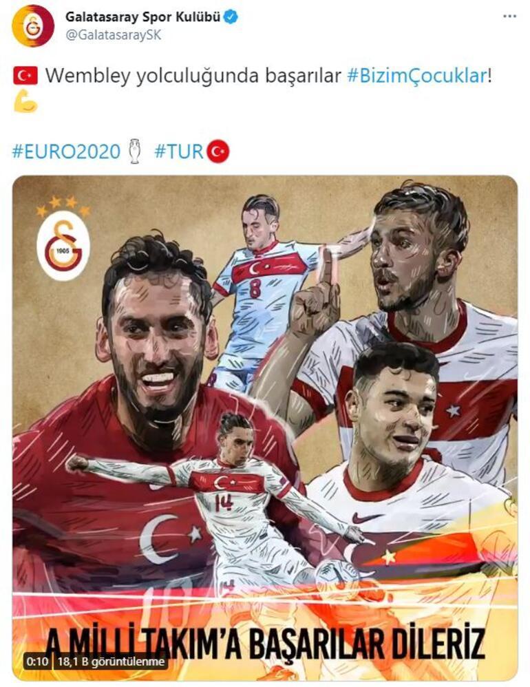 Galatasarayın EURO 2020 paylaşımında Hakan Çalhanoğlu detayı