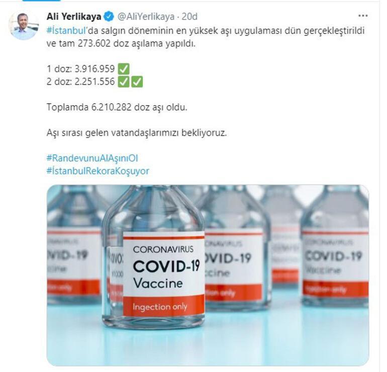Vali Yerlikaya: İstanbulda salgın döneminin en yüksek aşı uygulaması dün gerçekleştirildi