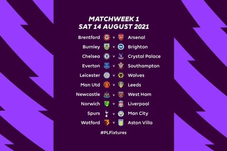 İngiltere Premier Ligde 2021-22 sezonu fikstürü belli oldu