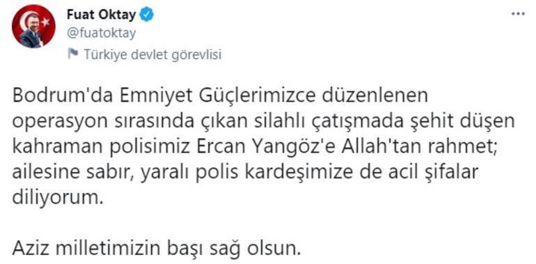 Cumhurbaşkanı Yardımcısı Oktaydan şehit polis memuru Yangöz için başsağlığı mesajı