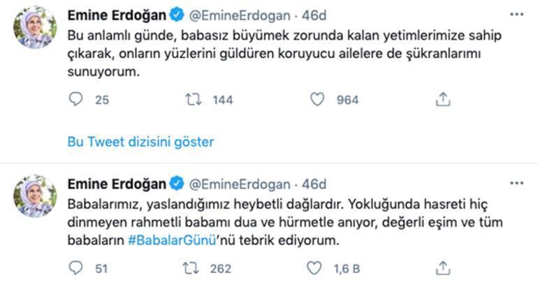 Emine Erdoğandan Babalar Günü mesajı