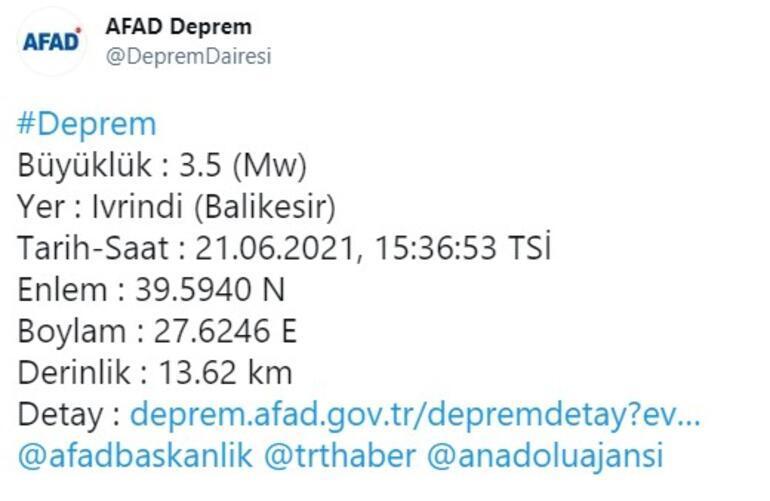 Son depremler... Balıkesirde 3.5 büyüklüğünde deprem
