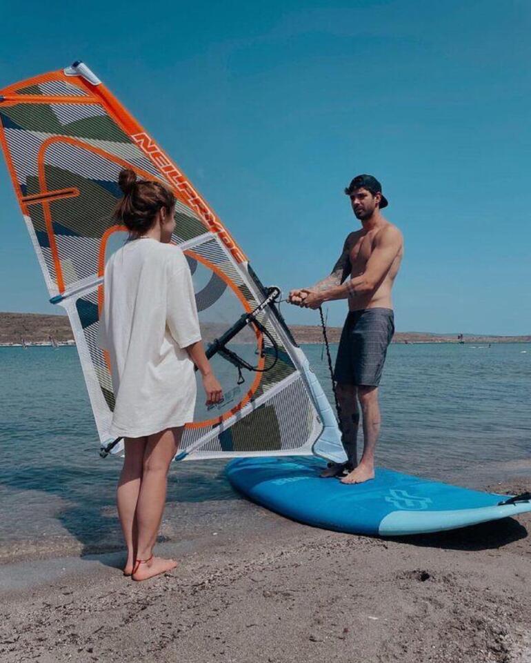 İlayda Alişan, sevgilisi Serkay Tütüncüden sörf dersi aldı: Teşekkürler hocam