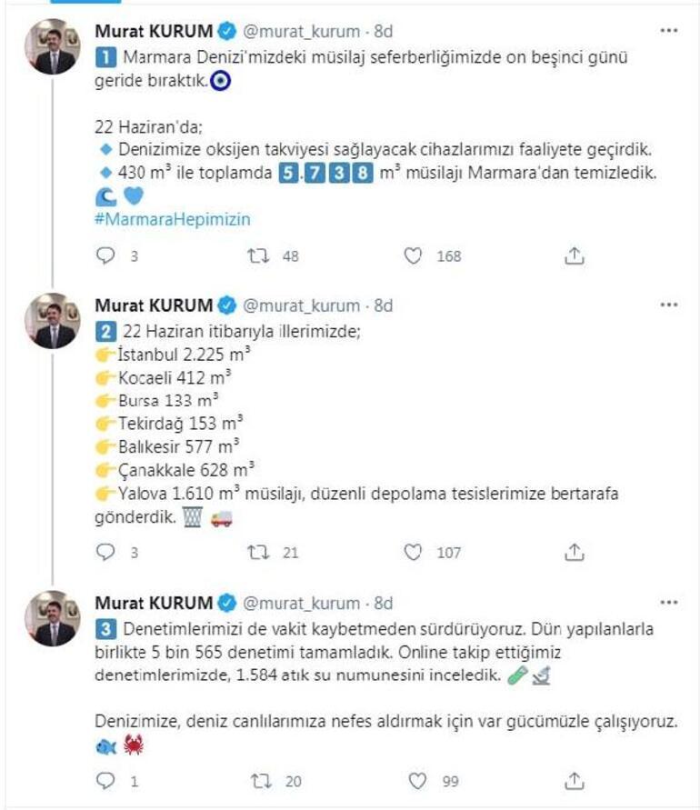 Bakan Kurum: 5 bin 738 metreküp müsilajı Marmaradan temizledik