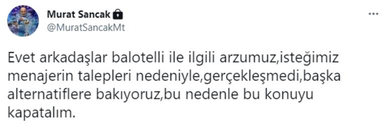 Son dakika haberi - Adana Demirspor Başkanı Sancaktan Balotelli açıklaması