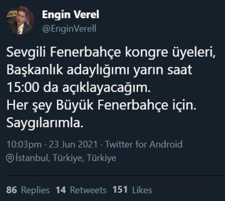 Son dakika - Engin Verel:  Yarın Fenerbahçe Başkan adaylığımı açıklayacağım