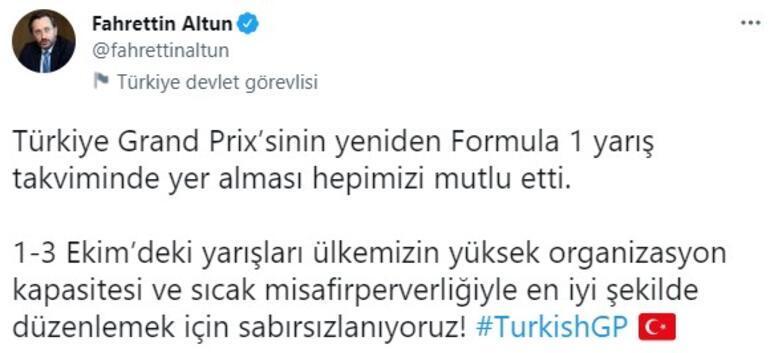 İletişim Başkanı Altundan Türkiye Grand Prix açıklaması