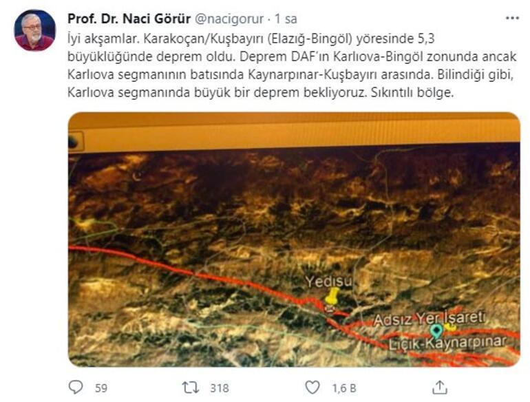 Bingöldeki deprem sonrası Naci Görürden flaş açıklama