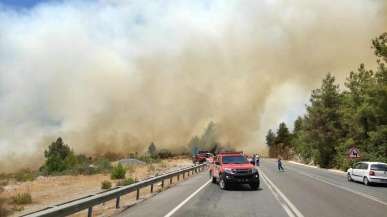 Son dakika... Tatil bölgesinde yangın paniği Karayolu trafiğe kapatıldı